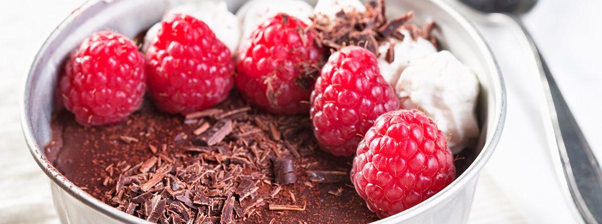 Mousse al cioccolato e lamponi